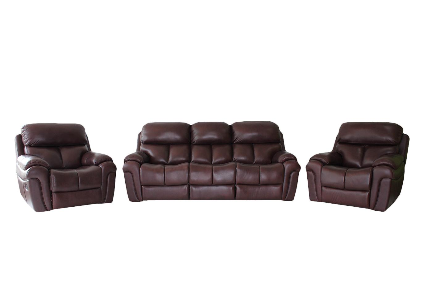 Cincinnati 3 Piece Leather Recliner Lounge Suite