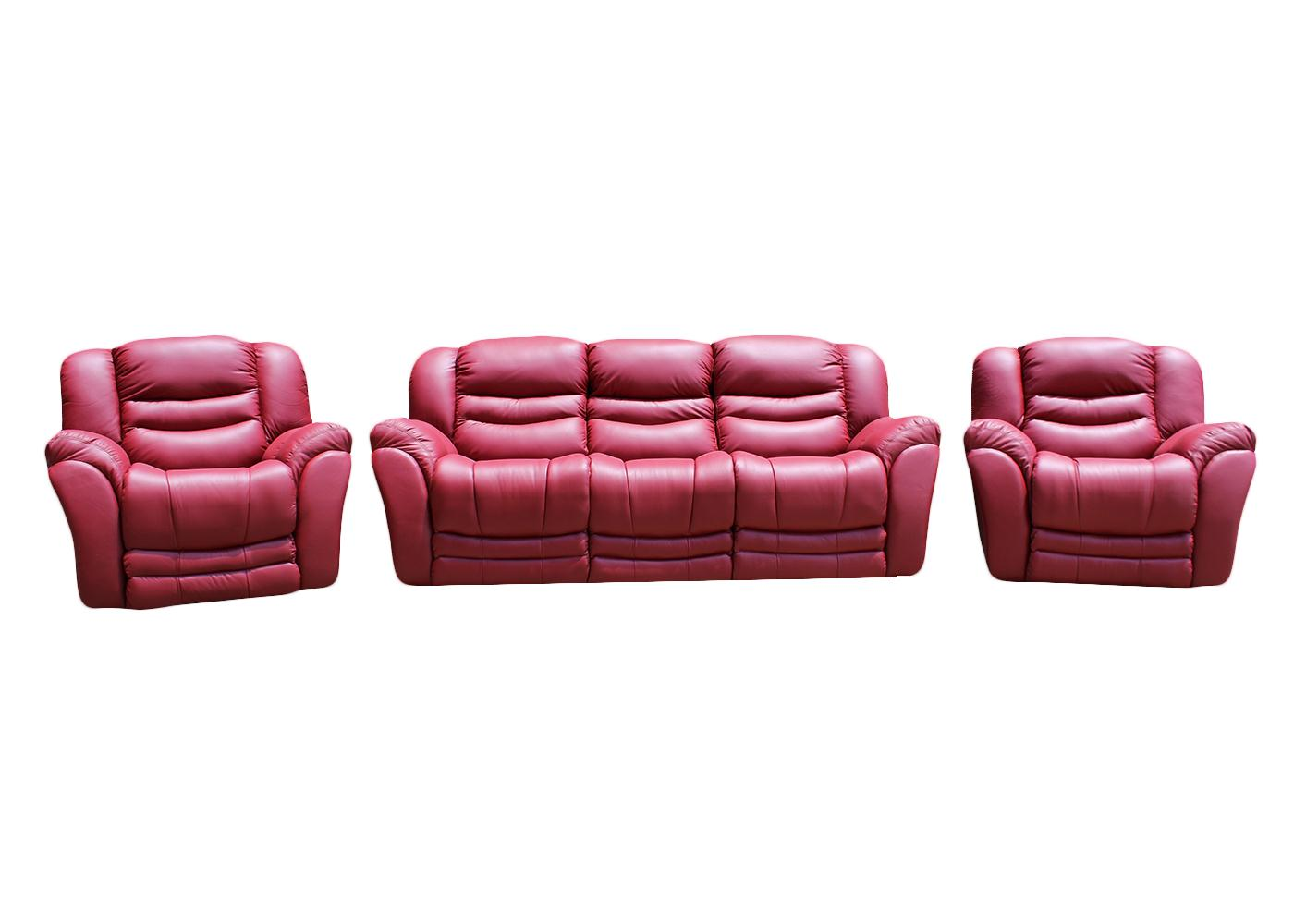 Manhattan 3 Piece Leather Recliner Lounge Suite